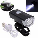 3 üzemmódú LED kerékpár első lámpa USB újratölthető