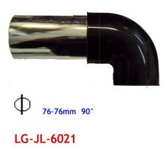 Alu könyök fekete 76mm LG-JL-6031