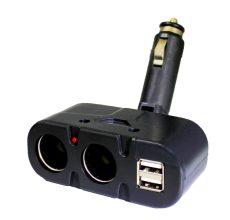 Kettes Szivargyújtó elosztó + USB AE-WF033/12-24V / BM033