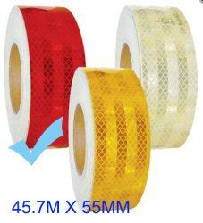 "Fényvisszaverő szalag ""E"" jeles  45.7M - Piros M-HT-3R 55MM"